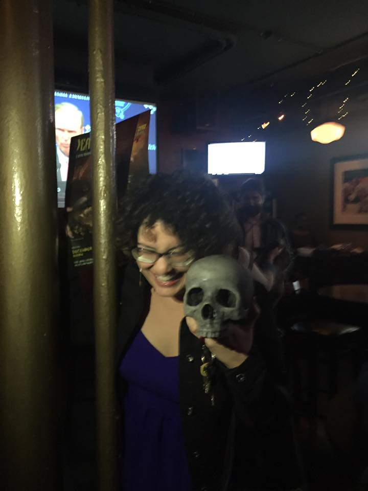 CAVITIES director Thrisa Hodits and the Cursed Skull of the Ancients (photo courtesy of Thrisa Hodits)